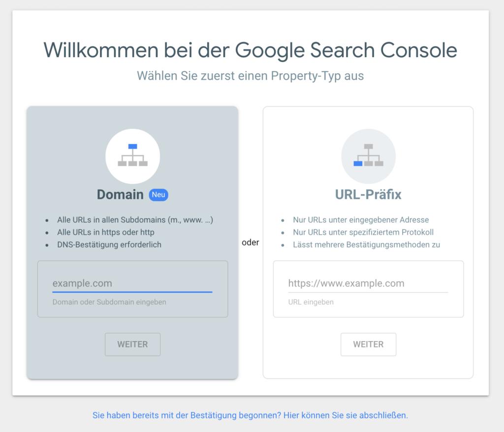 zum Einrichten der google Search Console muss zunächst eine Website registriert werden.